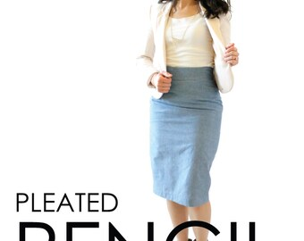 Pleated Pencil Skirt PDF Pattern