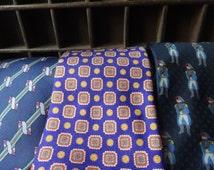 Three Destash VINTAGE SILK TIES - vintage men's ties - minor irregularities, easily repaired or upcycled -  1970's - 90's.