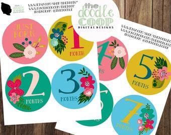 Flower Bodysuit Onesie DIY Monthly Sticker Printable Design