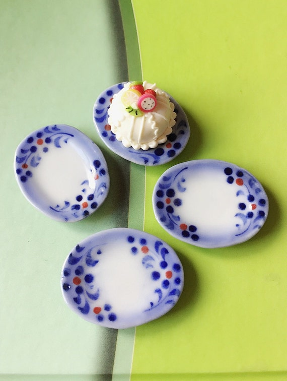 4 Miniature Ceramic Plate,Miniature Food Plate,Dollhouse Plate,Miniature tray,Ceramic Plate,Miniature food accessories,Miniature DIY