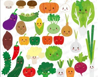 Happy Veggies, Kawaii veggies,Cute Vegetables Digital Clip Art  (CG116) / Personal & commercial use / Instant DOWNLOAD