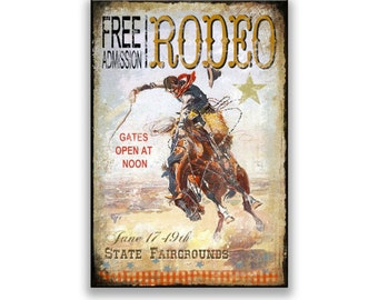 Vintage style rodeo cowboy sign.  Cowboy signs cowboy art rodeo signs rodeo art little boy's room wall art children's signs vintage rodeo