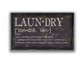 """Laundry Definition Wood Sign.  Approx. 12""""x19""""x2"""" Laundry decor Laundry signs Laundry plaques Mudroom signs Laundry wooden signs"""