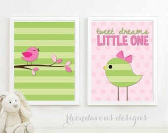 Tweet DreamsLittle One Duo. - Home. Decor. Nursery. Girl. Bird - Shown in Celery Apple Green & Pink - You Pick the Size (NS-228)
