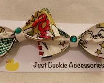 Comic Book Duck Tape Hair Bow, bobby pin pair