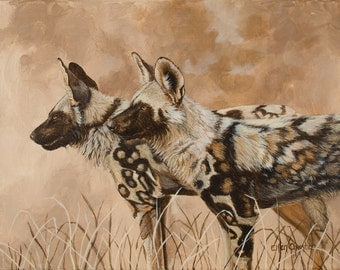 "African Wild Dogs.""Painted Sunset"" Giclee print of original Acrylic painting. Double matted to specified sizes."