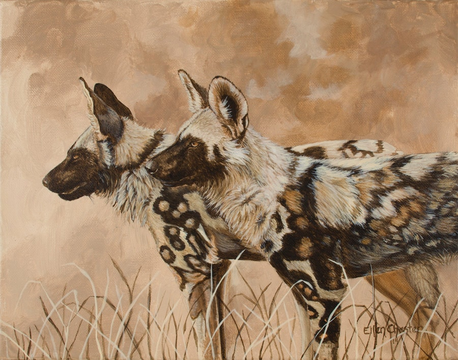 African Wild Dogs Painted Sunset Giclee Print Of