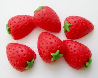 Set of 6 Strawberries -  edible sugar cake toppers