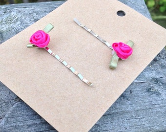 Bobby Pin. Dark Pink Rose Bobby Pin. Pink Rose.