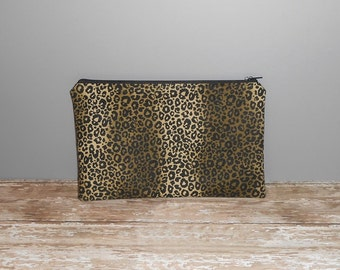 Zipper Pouch, Cosmetic Bag, Pencil Case, Make Up Bag, Gadget Pouch, Leopard Print