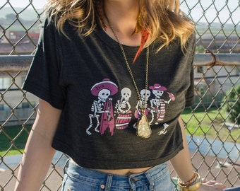 Skeleton Band T-shirt Crop Top, Dia de los Muertos, Sombrero, Skeletons, Day of the Dead, Short Sleeve Scrimmage Shirt, Made in USA