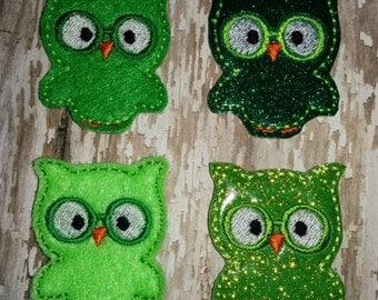 Set of 4 Geeky Geek Owl Owls Felties Glasses Green St Patricks Patty Patrick's Day Feltie Felt Embellishment Bow! Birthday Party Planner