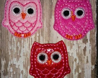 Set of 4 Red Pink Owl Glitter Valentine Valentines Valentine's Day Feltie Felt Embellishment Bow! Birthday Party