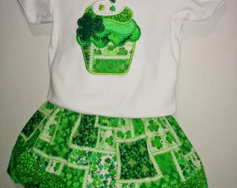 Baby Infant Toddler Girls Shamrock Cupcake St Patrick Patrick's Patty's Pattys Day Boutique Skirt T-Shirt Embroidered Shirt Set Outfit!