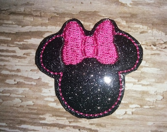 Set of 4 Glitter Minnie Mouse Felties Feltie Embellishment Bow! Birthday Party Oversized Oversize Extra Large Planner Clip Decorations