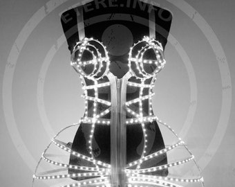 LED cage dress costume with bra