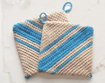 Double Thick Pot Holders, Thick Hot Pads with Vintage Vibe, Crochet Trivet, Housewarming Gift, Kitchen Decor