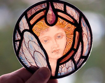 Angel, stained glass fragment, kilnfired glass, antique glass, glass painting angel, classic stained glass, Angel suncatcher, Angel, ангел
