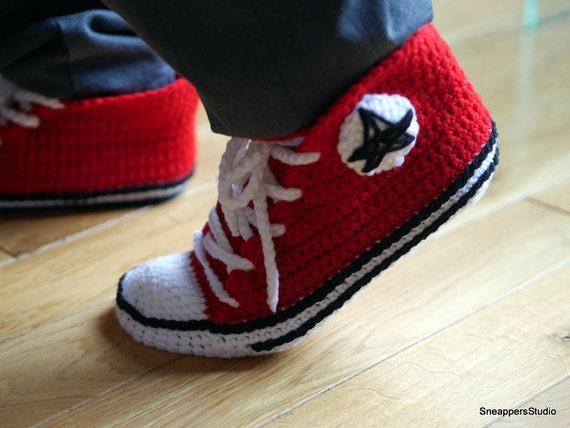 Crochet High Top Sneakers Free Pattern : Crochet Adult Converse high tops Men by SneappersStudio on ...