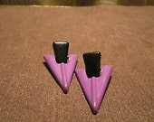 Purple & black triangular Vintage 80's style earrings.
