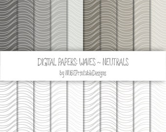 Waves ~ Neutrals: Grays and Browns ~ Scrapbook Digital Papers 12x12; Wavy Seamless Patterns; Scrapbooking; Waves, Curves; INSTANT DOWNLOAD