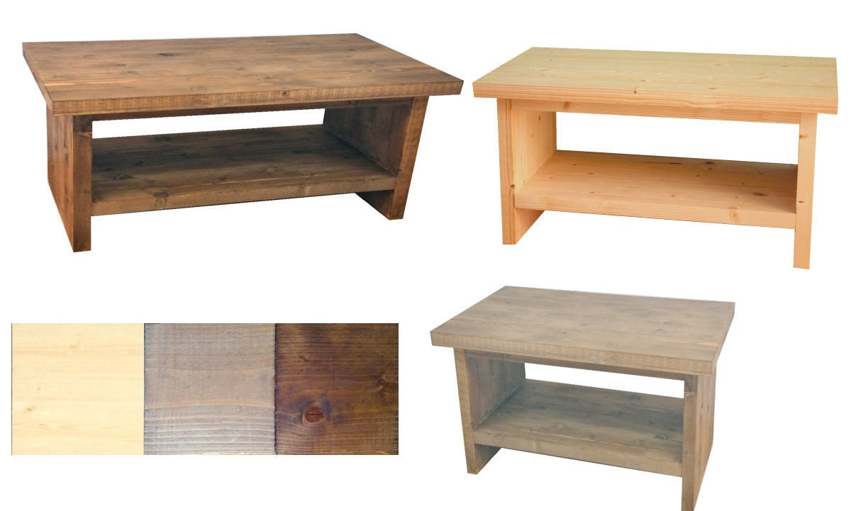 Rustic Pine Tv Stand Coffee Table With Shelf By Courtware