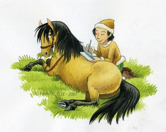 Original drawing - the small Mongolian horse