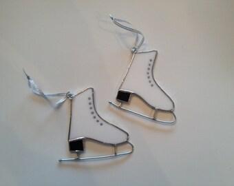 Handmade Stained Glass Ice Skate Ornament/Suncatcher