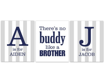 Brothers Wall Art, Brothers Quote, Personalized Kids Wall Art, Kids Name Art, Twin Boys Wall Art, Boys Room Decor - KIDS180