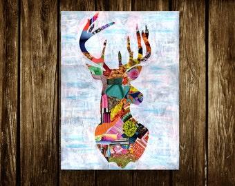 Deer print, Deer wall art, Deer illustration, Mixed media collage art, bohemian decor, gift for men, kids room decor