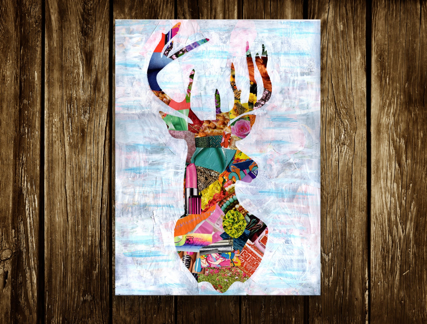 Wall Art Of Deer : Deer print wall art illustration mixed media