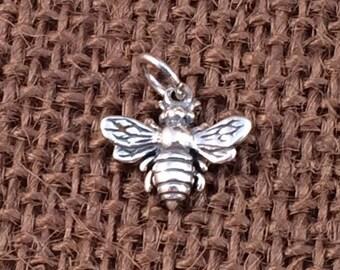 Bee Charm, Bee Pendant, Honeybee Charm, Sterling Silver Charm, Sterling Silver Pendant, PS0103