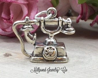 Telephone Charm, Phone Charm, Antique Telephone Charm, Sterling Silver Charm, Antique Charm, Sterling Silver Pendant, PS0668