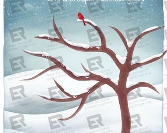 Red Cardinal Winter Wonderland