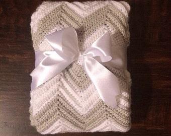 Crochet Chevron Blanket - Baby Blanket - Nursery blanket - Room decor - Blanket - Crochet