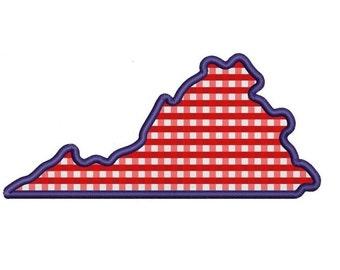 Virginia State Applique Machine Embroidery Digitized State Design Pattern
