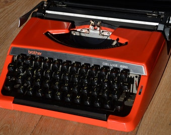 PICK A COLOR - Working Typewriter - Dark Orange Brother 220 Deluxe  - Working Perfectly