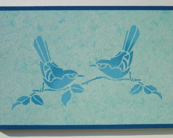 """Deco mural """"two birds"""", weed, turquoise tones - gift box - OBJECTS DECO objects deco objetsdeco2013"""