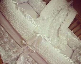 White, Satin, Rosette Crib Set.