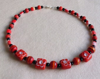 Red, Black and White Beaded Flower Necklace