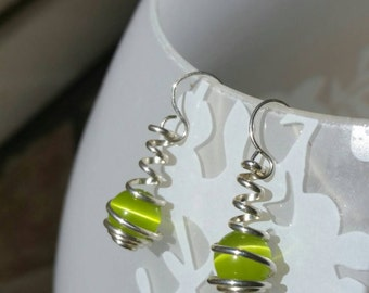 Bright Lime Green Cat Eye and Sterling Silver Wire Spiral Wrapped Caged Dangle Earrings