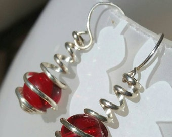 Sterling Silver and Red Glass Bead Wire Spiral Wrapped Caged Dangle Earrings
