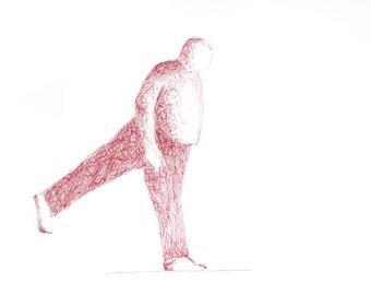 dessin original au stylo bille rouge homme qui marche sur un fil