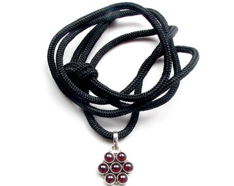 GP101 Garnet Sterling Silver 925 Oxydized Pendant on Black Cord