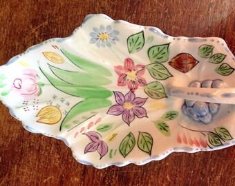 Vintage 1940s Blue Ridge Pottery Springtime Floral Celery Leaf Plate Hand Painted Collectible