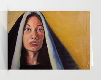 "Illustrated Spiritual Fine Art | 5 x 7 Blank Card with Envelope ""The Warmth - Keep Faith""  | Condolences Card | Nun |"