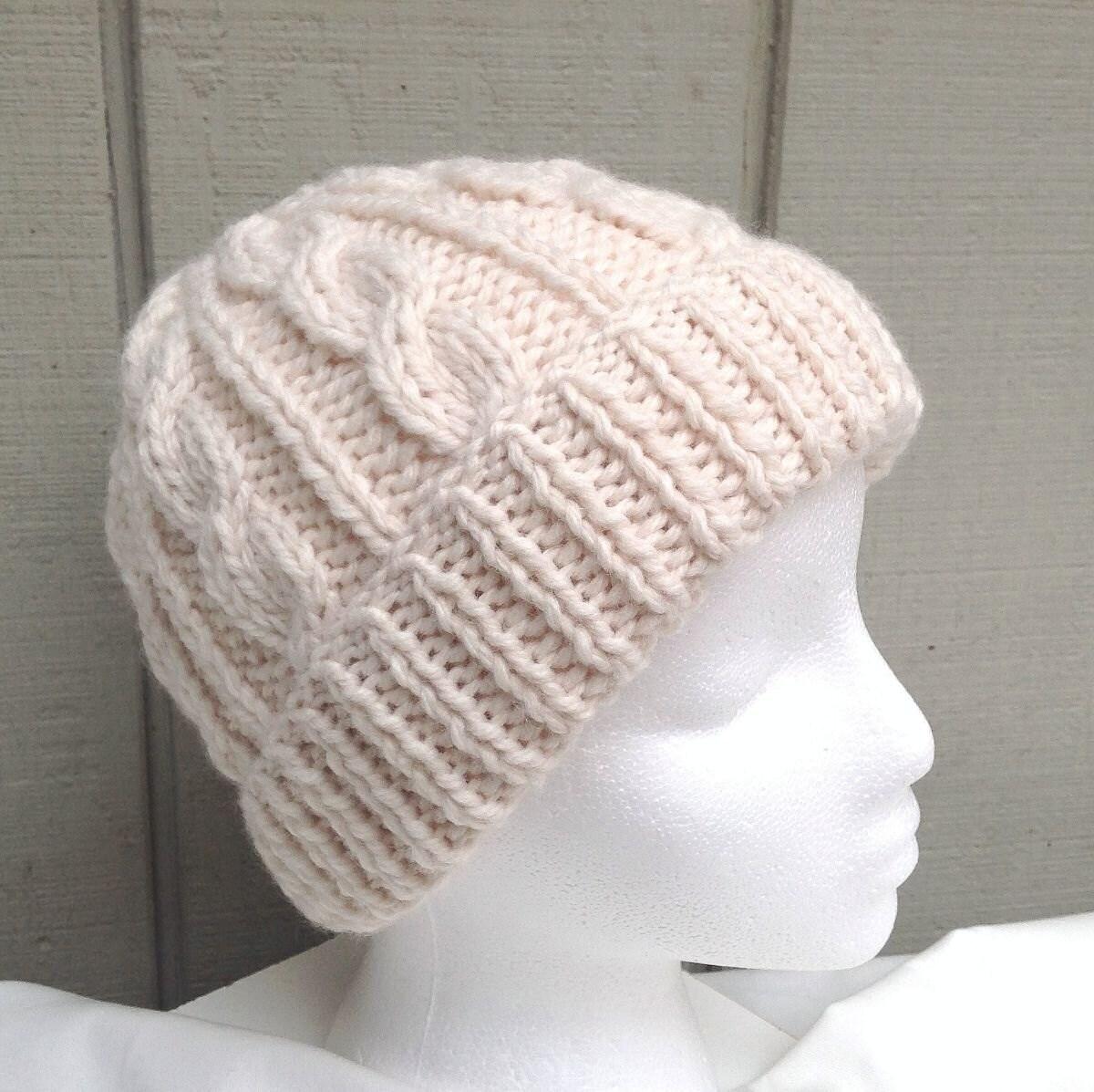Aran knitted hat Chunky wool blend hat Knit Aran beanie