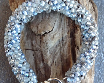 Crochet, crochet rope bracelet, beaded bracelet winter mix beads, grey bracelet, crochet beaded bracelet, crochet jewelry, crochet bracelet