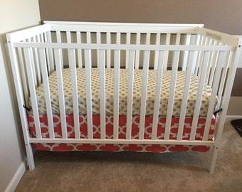 3-Sided Coral Trellis Crib Skirt