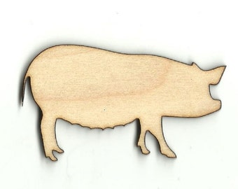 Pig - Laser Cut Out Unfinished Wood Shape Craft Supply PIG11